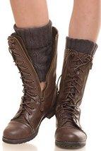 ICONOFLASH Women's Short Diamond Knit Leg Warmer Boot Cuffs, Dark Brown - $10.88