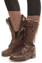 ICONOFLASH Women's Short Cable Knit Leg Warmer Boot Cuffs, Hazelnut - $10.88