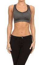 ICONOFLASH Women's Racerback Active Sports Bra with Removable Padding, (Charc... - $34.64