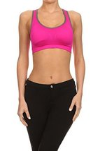 ICONOFLASH Women's Racerback Active Sports Bra with Removable Padding, (Hot P... - $34.64