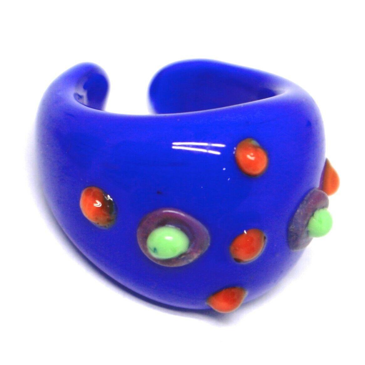 Ring Antica Murrina, Murano Glass, Blue, Discs, Polka dot Embossed