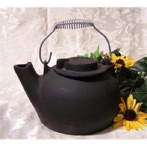 Iron Cast Tea Kettle Pot Vintage Antique Handle Lid Teapot Black Old Stove Water
