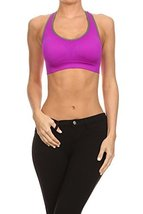 ICONOFLASH Women's Racerback Active Sports Bra with Removable Padding, (Purpl... - $34.64