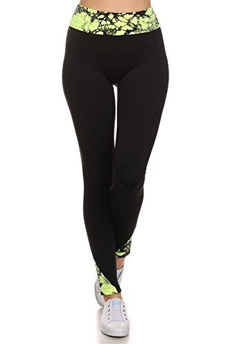 Primary image for ICONOFLASH Women's Active Sport Legging with Bright Tie Dye Trim, (Neon Fuchs...