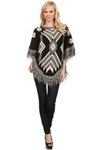 ICONOFLASH Women's Fringed Tribal Sweater Poncho, Black - $49.49