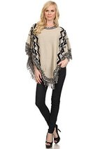 ICONOFLASH Women's Fringed Tribal Boho Sweater Poncho, Beige - $49.49