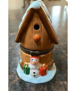 New Ceramic Hinged Trinket Box Snowman house - $17.70