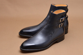 Handmade mens style Black double monk strap ankle boots, Men ankle leather boots - $189.99
