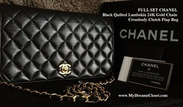 FULL SET CHANEL Black Quilted Lambskin 24K Gold Chain Crossbody Clutch F... - $2,250.00