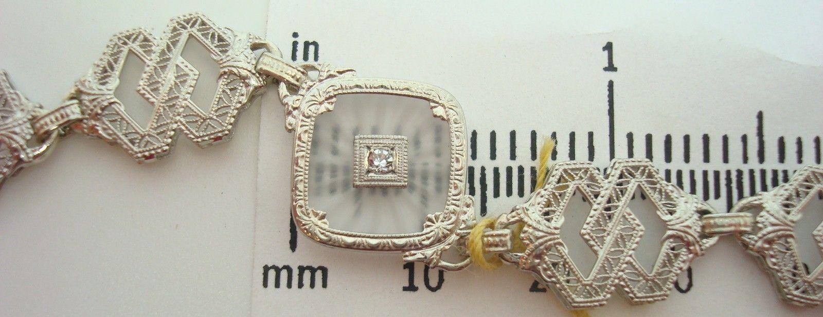 White Gold Genuine Natural Diamond Camphor / Crystal Filigree Bracelet (#2138)