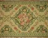 "Wool Crewel Stitched Floral Scroll Throw Rug Sage Green Gold Tan Pink 27"" X 42"""
