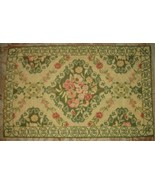 Wool Crewel Stitched Floral Scroll Throw Rug Sage Green Gold Tan Pink 27... - $49.47