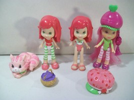 LOT OF 3 STRAWBERRY SHORTCAKE MINI DOLL FIGURES CUSTARD KITTY CAT PVC FI... - $14.65