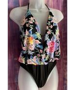 $75 Black Floral Halter Blousan Mallott Swimsuit - Size M - $35.00
