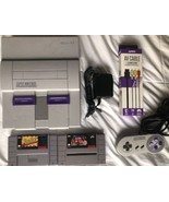☆ Super Nintendo System Console Bundle W/ 2 SNES Games Lot - Tested Work... - $60.00