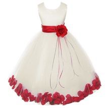Ivory Satin Bodice Layers Tulle Skirt Red Flower Ribbon Brooch and Petals - $48.00