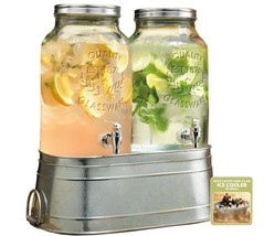 2 Clear Glass 1.5 Gallon Iced Tea Party Beverage Drink Dispensers Metal ... - $65.44