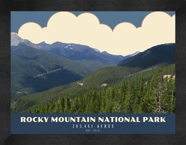Rocky Mountain National Park 13 x 16 Art Deco Framed Photo - $39.95