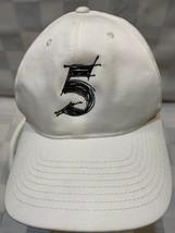 5 Number Five White Black Adjustable Adult Baseball Ball Cap Hat - $10.29