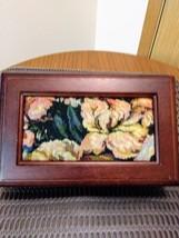 "Dark Wood Jewelry Organizer w/Mirror 5"" x 8"" Brocade Fabric Lid Made in China Je image 1"