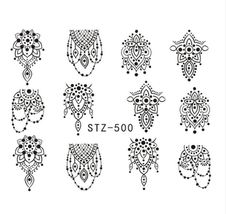 "HS Store - 1PCS Water DIY ""STZ-500"" Nails Black/White Hollow 3D Nail Art Sticker - $2.32"
