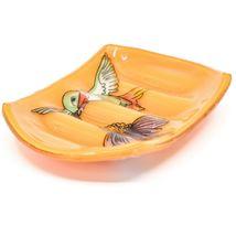 Fused Art Glass Hummingbird Bird Design Orange Soap Dish Handmade Ecuador image 3
