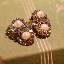 Vintage Trifari Clip  Earrings Faux Pearl PRONG SET  Rhinestone BLUE LT.GREEN image 5