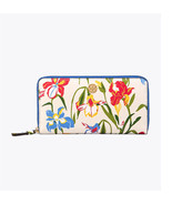Tory Burch Robinson Printed Iris Floral Leather Zip Around Wallet clutch... - $144.53