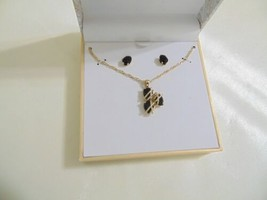 Charter Club Gold Tone Jet Stone Necklace & Drop Earrings Set CL105 $27 - $13.43