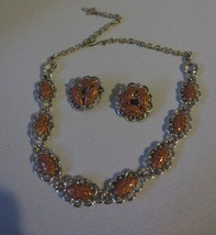 GOLDSTONE NECKLACE & CLIP EARRING SET VINTAGE JEWELRY - $15.00