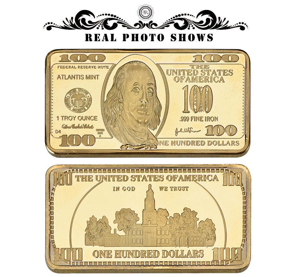 WR Gold Art Bar US $100 Dollar Bill Money and 17 similar items
