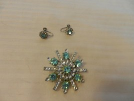 Vintage Aqua and Clear Faux Stone Starburst Broach and Post Earrings - $49.49