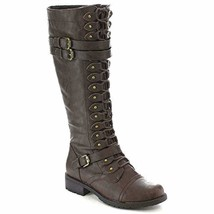 Wild Diva Timberly Women's Fashion Lace Up Buckle Knee High Combat Boots - $33.45