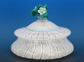 Vintage Murano Glass White Zanfirico Covered Candy Box or Dresser Jar c.1950 image 4