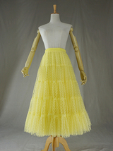 Women Tiered Long Skirt Outfit High Waisted Layered Yellow Tulle Skirt image 6
