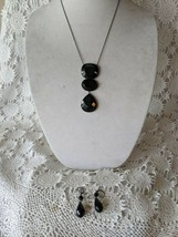Designer Signed Lia Sophia Black Stone Matching Necklace & Pierced Earri... - $19.39