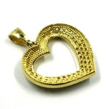 SOLID 18K YELLOW GOLD PENDANT HEART WITH CUBIC ZIRCONIA, 16mm, 0.63 inches image 4