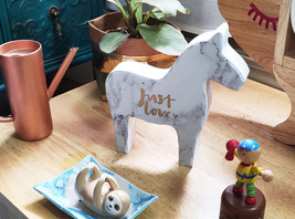 Wooden Pony Horse Home Decor, White - $13.99