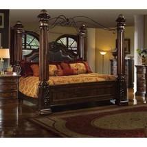 McFerran B6003-EK Tuscan Brown King Post Bed