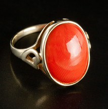 Vintage 1960's 8k Yellow Gold Oval Cabochon Coral Solitaire Ring 5.48ctw - $370.00