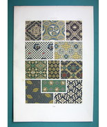 JAPAN Ancient Fabrics Decorations - COLOR Litho Print A. Racinet - $22.95