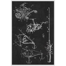 Fishing Set, Rod, Reel, Lure Patent Blueprint Poster, Photo Art - $18.32+