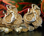 Vintage mermaid earrings faux coins pearls crystal dangles large clips thumb155 crop