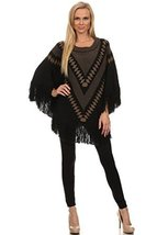 ICONOFLASH Women's Casual Tribal Batwing Thick Sweater Poncho Cape, Black - $44.54
