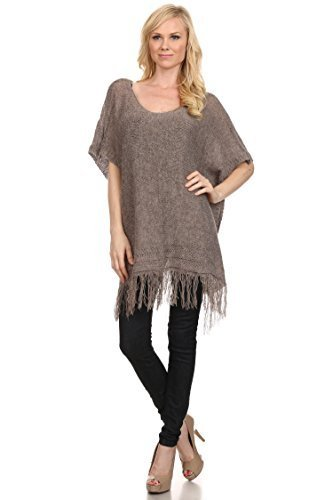 Primary image for ICONOFLASH Women's Fringed Sweater Poncho with Button Detail, Khaki