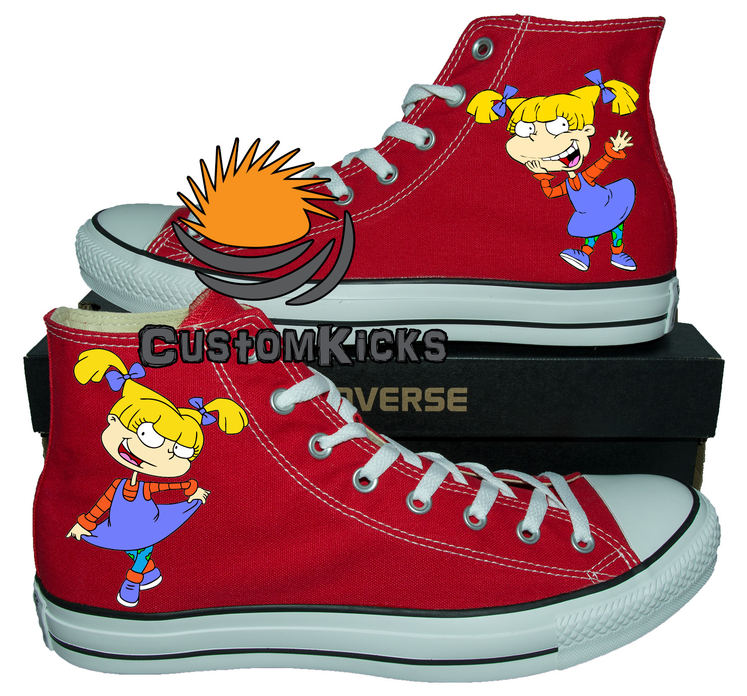 Painted converse sneakers, Rugrats, Angelica, Handpainted shoes, red converse