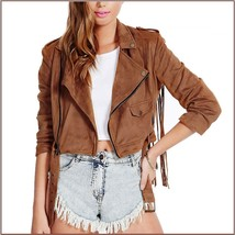 Brown Faux Leather Suede Motorcycle Cross Zip Up Long Flying Fringed Back Jacket