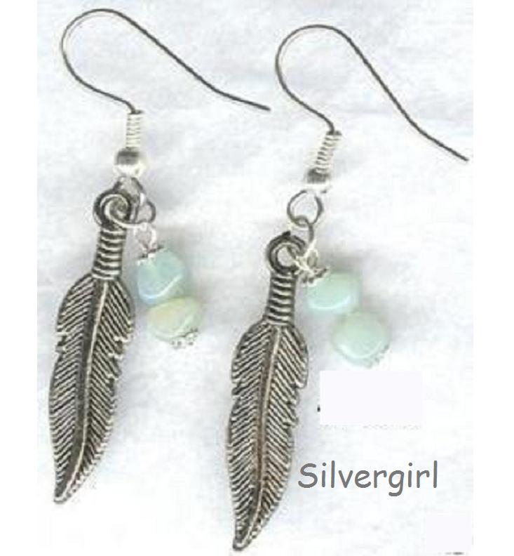 Silvertone Feather Green Amazonite Dangle Earrings