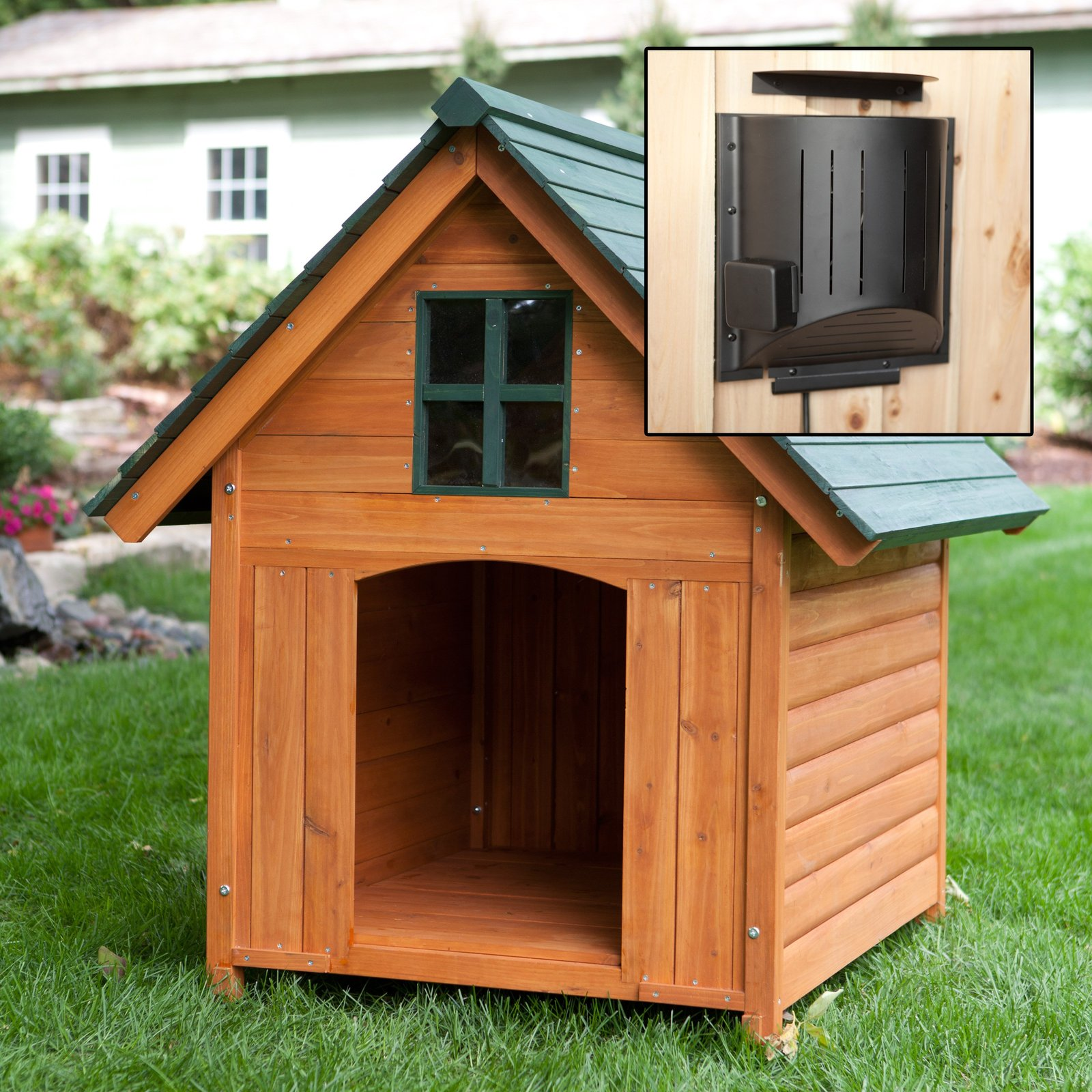 heated dog house large house heated pet kennel deluxe rustic wooden 10431