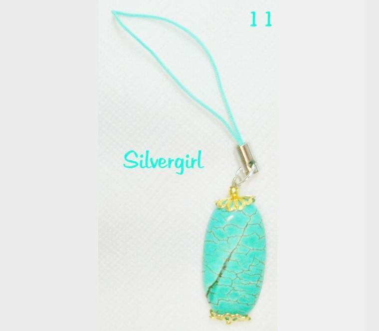 Cell phone charm sp gp green turquoise 2